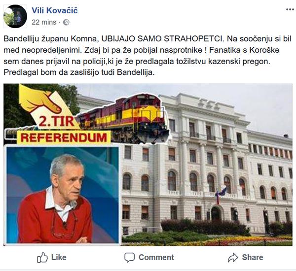 Vili Kovačič je že napovedal, da bo policiji in državnemu tožilstvu predlagal tudi zaslišanje politika Marka Bandellija, župana Komna in podpredsednika Stranke Alenke Bratušek.<br>