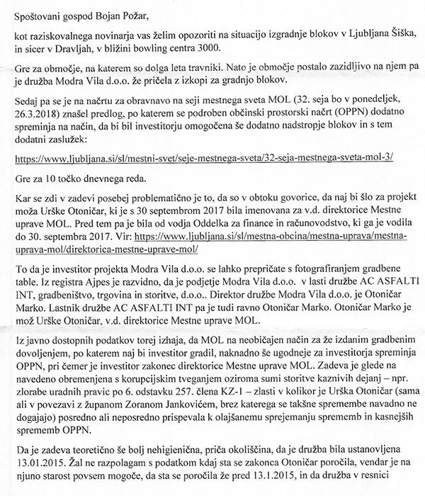 Ena od najnovejših anonimk, povezanih s posli Jankovićevih dam, ki smrdijo do neba, poslana avtorju teh vrstic.<br>