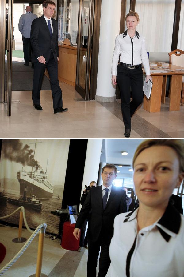Miro Cerar in Mojca Stropnik, kot sodelavca na vladi in stranki SMC. Stropnikova je delo svetovalke v kabinetu očitno zapustila šele potem, ko je postalo jasno, da bo za kariero predsednika vlade in njegovo podobo v javnosti bistveno bolje, če hodi z odvetnico, ne pa z uradnico iz svojega kabineta.<br>