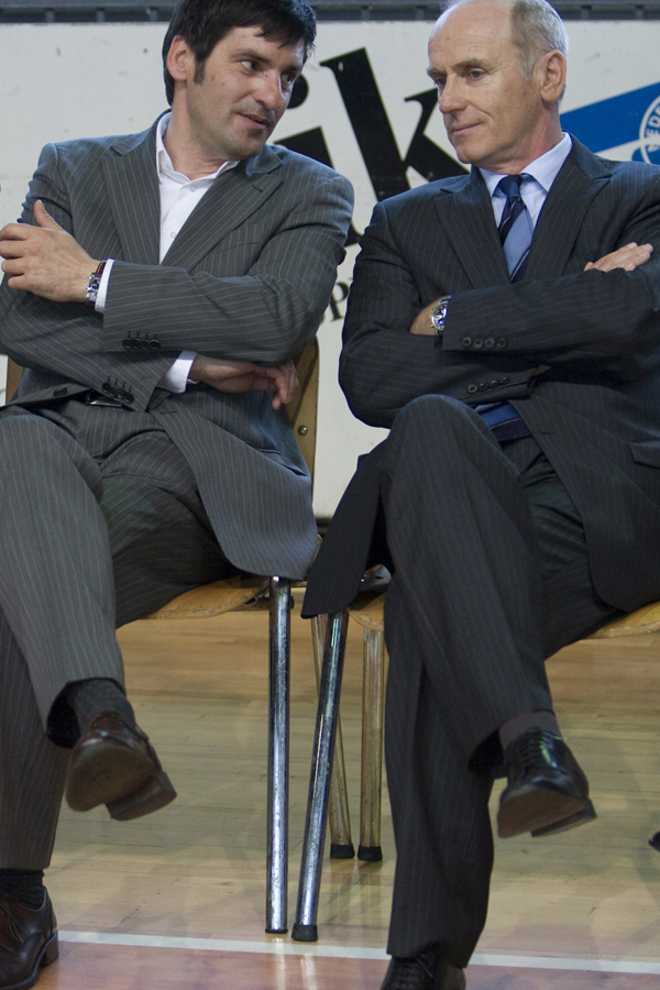 Marko Rajšter kot direktor direktorata za šport, skupaj z Jožetom Mermalom, največjim lastnikom BTC. Rajšter velja za zelo elegantno oblečenega državnega uradnika in vozi audi Q5.<br>