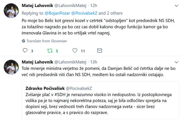 Tako je Zdravko Počivalšek minuli ponedeljek tvital proti Damjanu Beliču. Povsem pričakovano, da bi po takšnem zapisu resornega ministra Belič odstopil sam, če ne, bi ga pa vlada razrešila.<br>