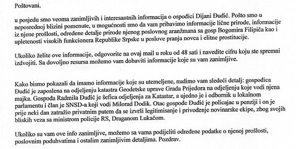 Tako se, za denar seveda, ponujajo obveščevalne ali policijske informacije o Dijani Đuđić. Prek spleta in tako imenovanega<br>