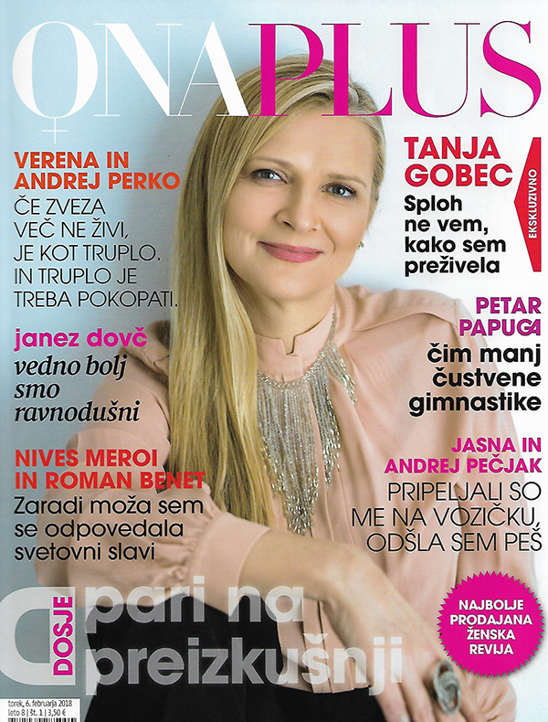 Tanja Gobec na naslovnici zadnje številke revije Ona Plus (časopisna hiša Delo), ki se reklamira kot najbolj prodajana slovenska ženska revija.<br>