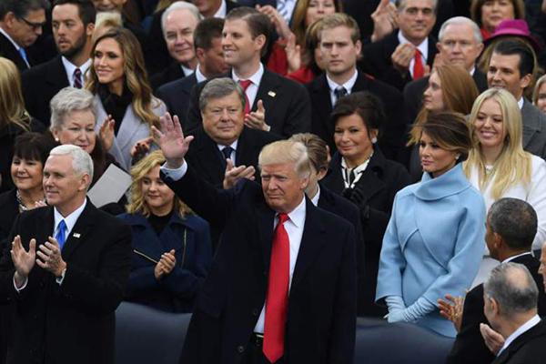 Viktor in Amalija Trump med slavnostno inavguracijo Donalda Trumpa za 45. predsednika Združenih držav Amerike, januarja lani.<br>