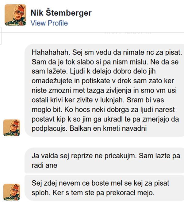 Včerajšnji zapisi sina finančnika Igorja Štembergerja na facebooku.<br>