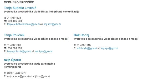 Medijsko središče kabineta predsednika vlade Mira Cerarja. Kar štirje svetovalci za odnose z javnostmi, med njimi tudi sporni Rok Hodej.<br>