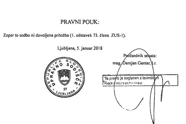 Sodbo upravnega sodišča, zoper katero pritožba ni mogoča, je podpisal sodnik Damjan Gantar.<br>