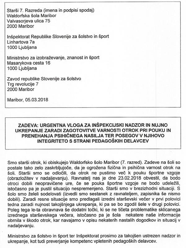 1/ Prijava staršev, poslana na pristojne organe v Ljubljano in Maribor ...<br>