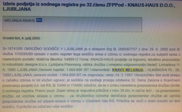 To sta dva izpisa iz sodnega registra sodišča v Ljubljani, ki dokazujeta ...<br>