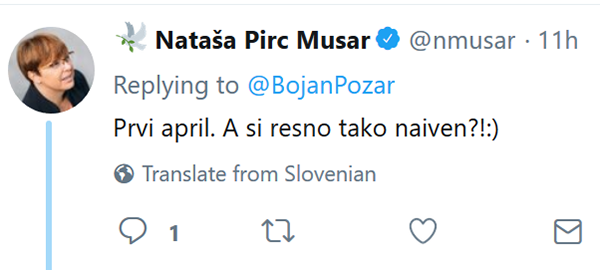 Tvit Nataše Pirc Musar.<br>