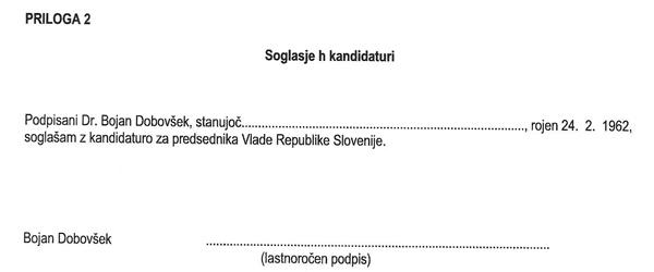 ... za novega predsednika vlade pa predlaga poslanca Bojana Dobovška, ki pa trdi, da tega dokumenta še ni videl. In ga, kot vidimo, tudi še ni podpisal (za povečavo klik na sliko).<br>