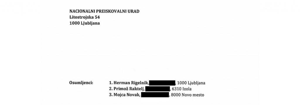 Herman Rigelnik, Primož Raktelj in Mojca Novak so tudi kazensko ovadeni. Razplet sledi.