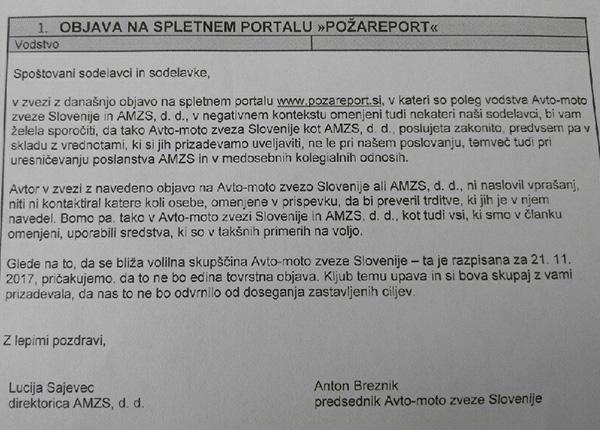 To je pismo, ki ga sta ga vsem zaposlenim na AMZS poslala in podpisala Lucija Živa Sajevec, direktorica AMZS, d. d., in Anton Breznik, predsednik AMZS.<br>