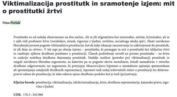 Faksimile članka Nine Peršak na temo Viktimalizacija prostitutk in sramotenje izjem: mit o prostitutki žrtvi. Specialistka za prostitucijo se zdaj poteguje za slovensko sodnico na Evropskem sodišču za človekove pravice (za povečavo kliknite na sliko).<br>