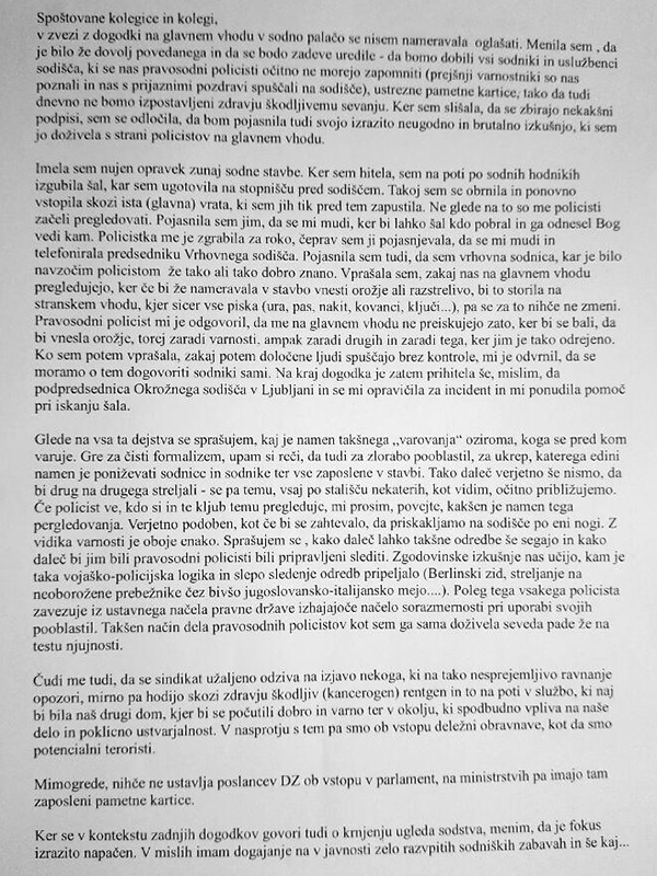 To pa je pismo Barbare Zobec spoštovanim kolegicam in kolegom ...<br>