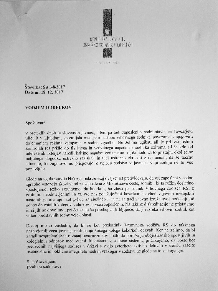 ... Peticija ali pismo Marjana Pogačnika vodjem oddelkov (za povečavo kliknite na sliko).<br>
