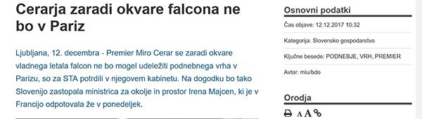 Sporočili Slovenske tiskovne agencije, prvo ob 10.32, drugo ob 10.52 ... in tvit Mira Cerarja, ki se hvali, da je polet v Pariz odpovedal sam?!<br>