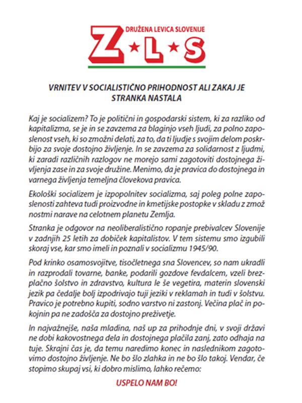 Programski letak Združene levice Slovenije, ki jo bosta vodila Matjaž Hanžek in Gorazd Marinček (2.)<br>