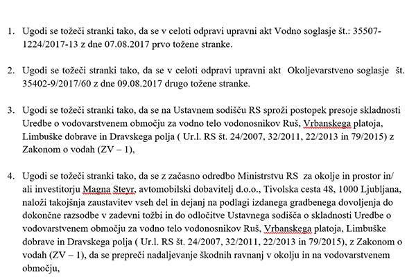 Slovenski E-forum s tožbo zoper Direkcijo za vode in Agencijo republike Slovenije za okolje med drugim zahteva, naj upravno sodišče nemudoma ustavi vsa gradbena dela Magne Steyr v Hočah.<br>