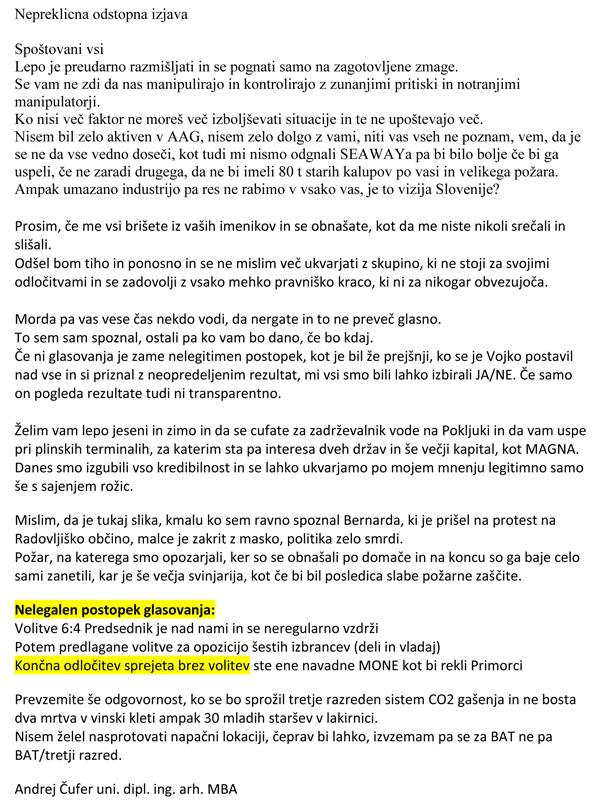 Čustveno in jezno pismo Andreja Čuferja, potem ko je včeraj zvečer odstopil kot član upravnega odbora Alpe Adria Green (za povečavo kliknite na sliko).<br>
