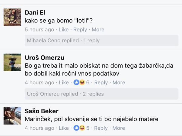 Marinčku, predsedniku Slovenskega E-foruma, grozijo tudi s pretepom in j......m matere.<br>