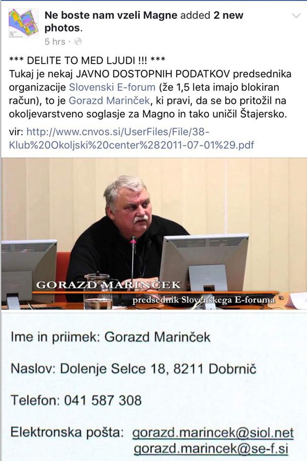Tiralica na glavo Gorazda Marinčka, ki so jo včeraj objavili na FB Ne boste nam vzeli Magne. Po nekaterih informacijah naj bi to stran urejala ekipa okoli Draga Žure.<br>