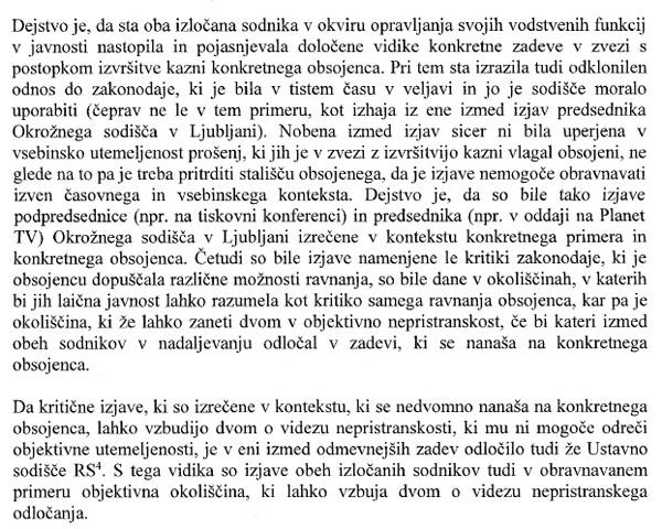 Dvom o videzu nepristranskega odločanja: iz obrazložitve sklepa predsednika vrhovnega sodišča Damjana Florjančiča v primeru Igorja Bavčarja (za povečavo kliknite na sliko).<br>