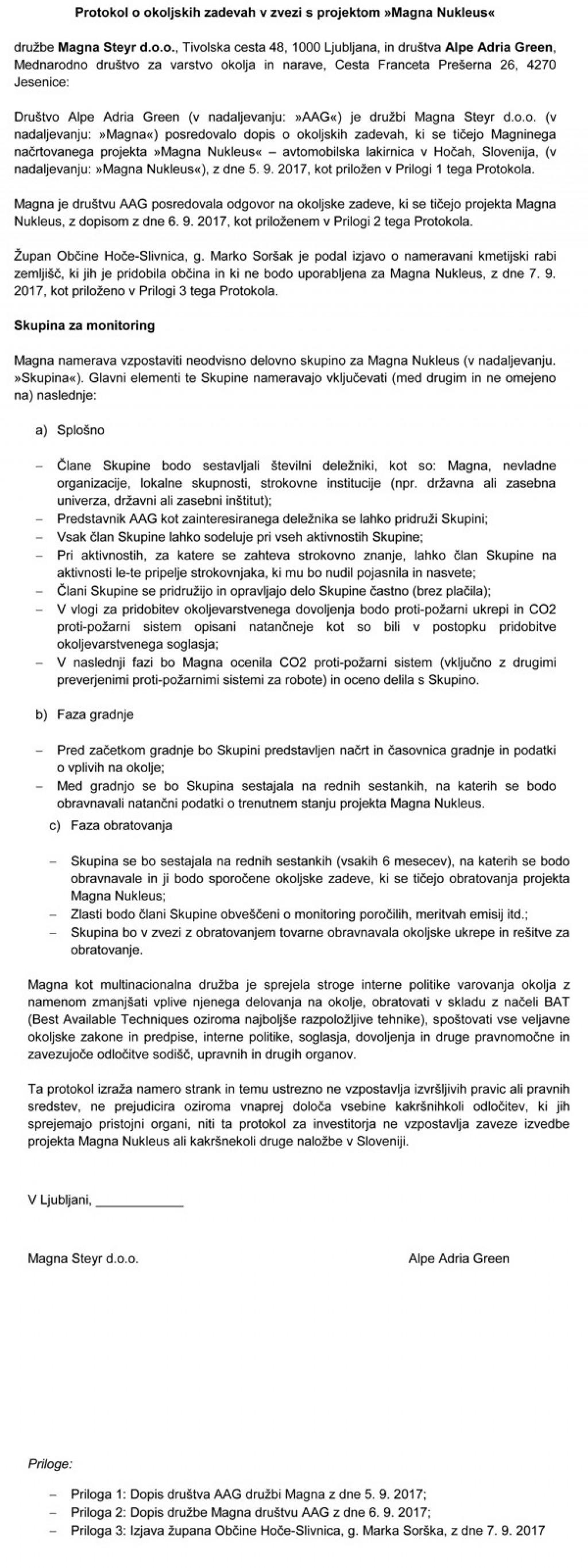 Protokol med Magno Steyr in AAG. Na koncu celo izrecno piše, da Magno Steyr nič ne zavezuje!<br>