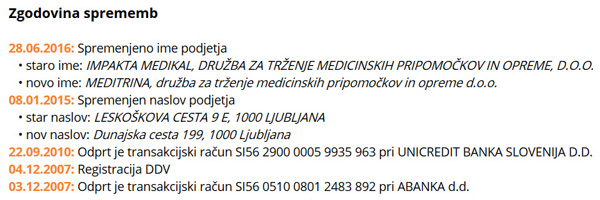 Ko so v javnost prišli podatki o največjih zaslužkarjih znotraj slovenskega zdravstva, se je Impakta Medikal hitro preimenovala v Meditrino, d. o. o.. Ravno prav, da se malo zabrišejo sledi ...<br>
