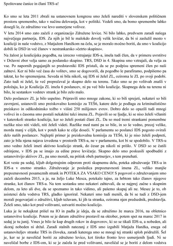 To je pismo Gorazda Marinčka članom stranke Trs (za povečavo kliknite na sliko)..<br>