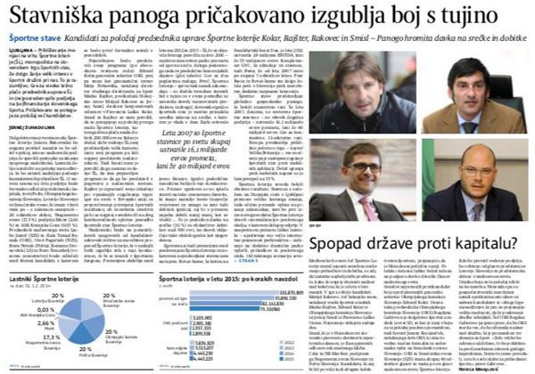 Tako je Bogdan Gabrovec med pogovorom za Delo pred nekaj dnevi napadel sponzorje OKS ...<br>