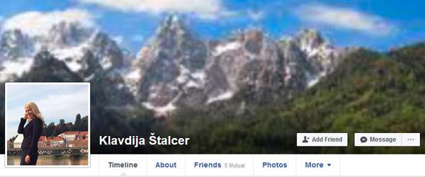 ... To pa je naslovna strank Facebook profila Klavdije Štalcer.<br>