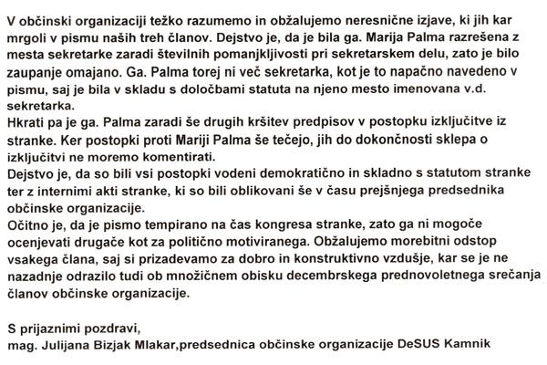 Julijana Bizjak Mlakar odgovarja na pismo, poslano Karlu Erjavcu (za povečavo kliknite na sliko).<br>