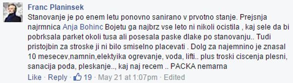 Stanovanje je saniral eno leto. Faksimile zapisa Franca Planinška o bivši najemnici Anji Bohinc Bojetu na Facebooku (za povečavo kliknite na sliko).<br>