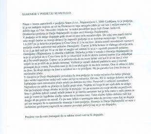 Faksimile pisma, ki so nam ga poslali zaposleni v podjetju Seam. Opozarjajo na nevzdržne razmere in izkoriščenje ljudi.<br>