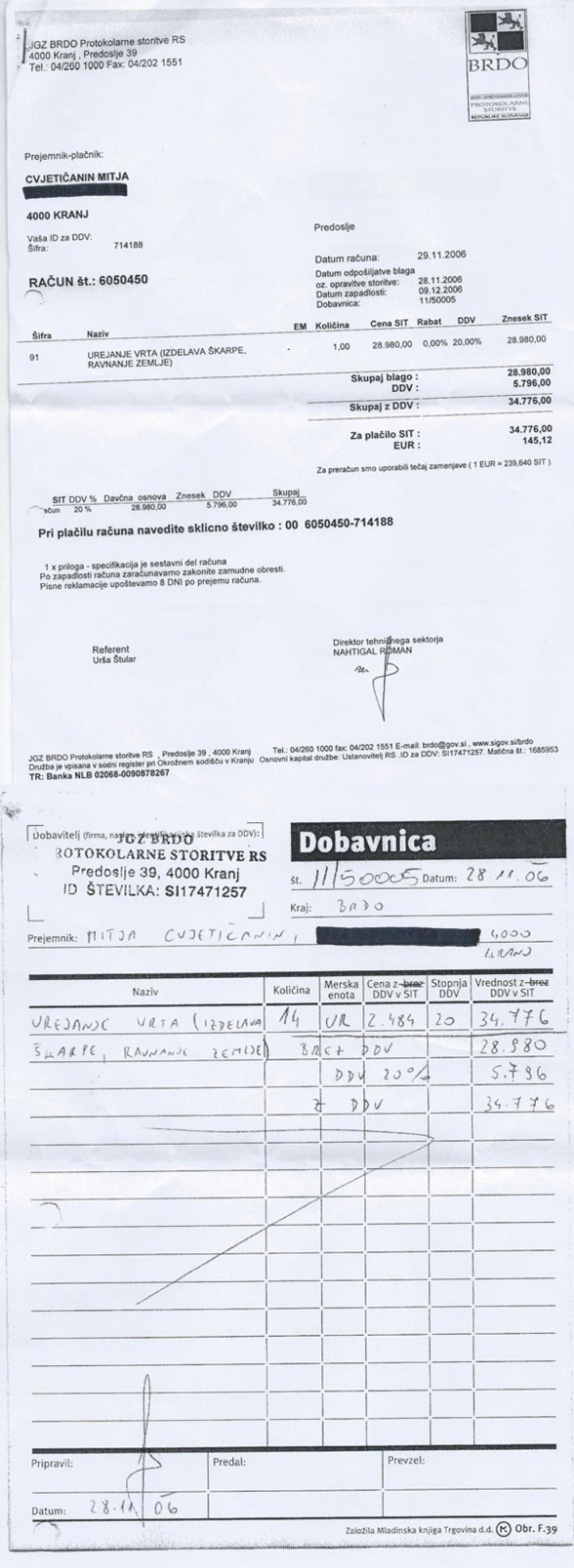 Račun številka 6050450 za urejanje vrta, s priloženo dobavnico, ki ga je JGZ Brdo Mitji Cvjetičaninu, partnerju Alenke Bratušek, izdalo novembra 2006.<br>