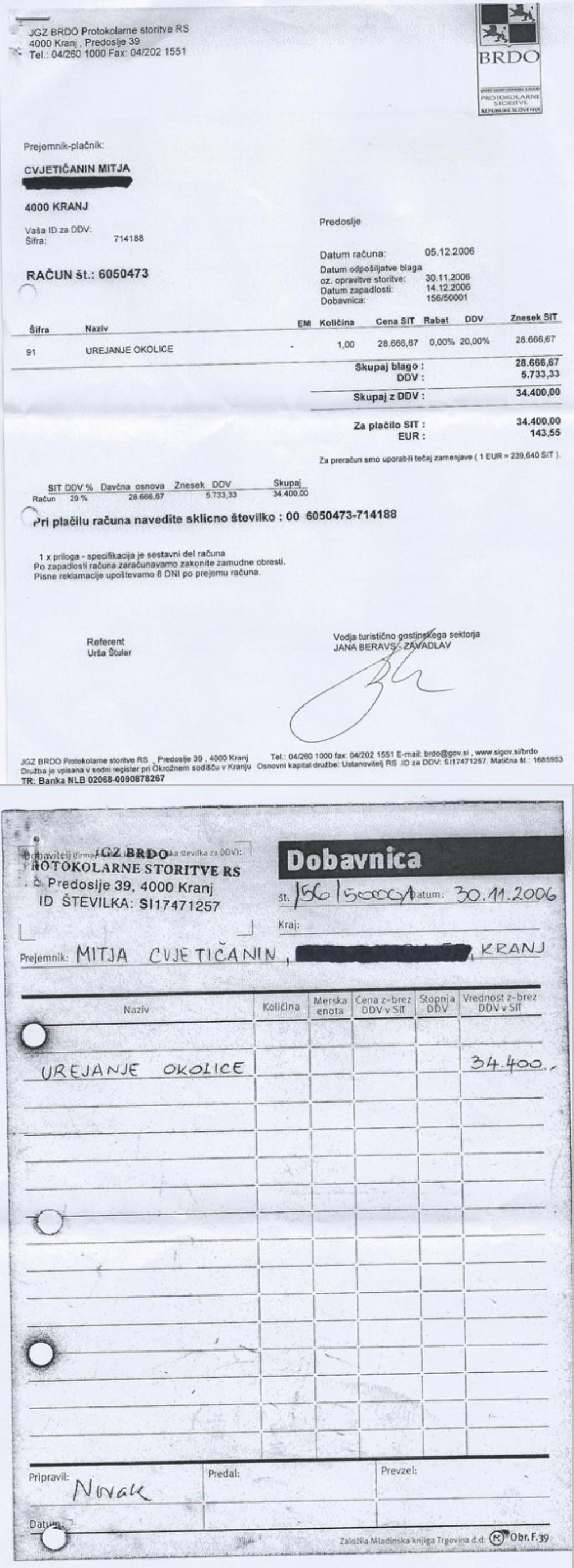 Račun številka 6050473, s priloženo dobavnico, izdan decembra 2006.<br>