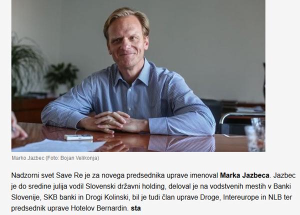Tako lakonično sta Slovenska tiskovna agencija in časnik Dnevnik poročala o petkovem imenovanju Marka Jazbeca za novega predsednika uprave Save Re. Kot da se ni zgodilo nič posebnega.<br>
