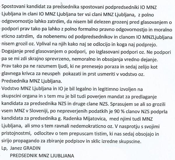 To je pismo Janeza Gradina, poslano Ivanu Simiču in članom vodstva MNZ Ljubljana. Gradin in Simič sta si pismi izmenjala 1. decembra.<br>
