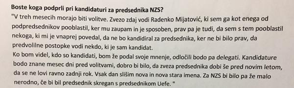 Aleksander Čeferin o Radenku Mijatoviću v časopisu Večer, 15. oktobra 2016<br>
