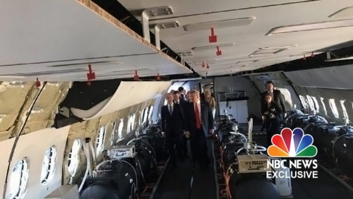 President Donald Trump seen here touring a Boeing 767 airplane outfitted with chemtrail gear.