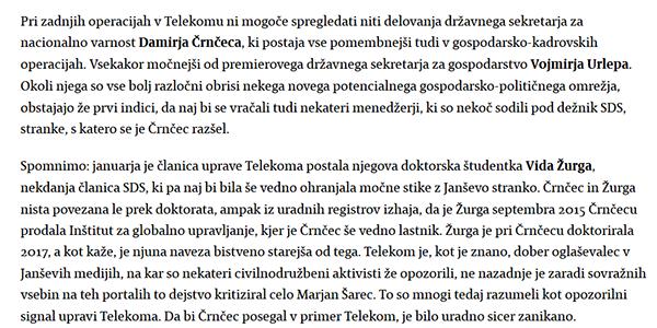 Faksimile dela članka Matije Stepišnika v mariborskem časopisu Večer - 30. marec.