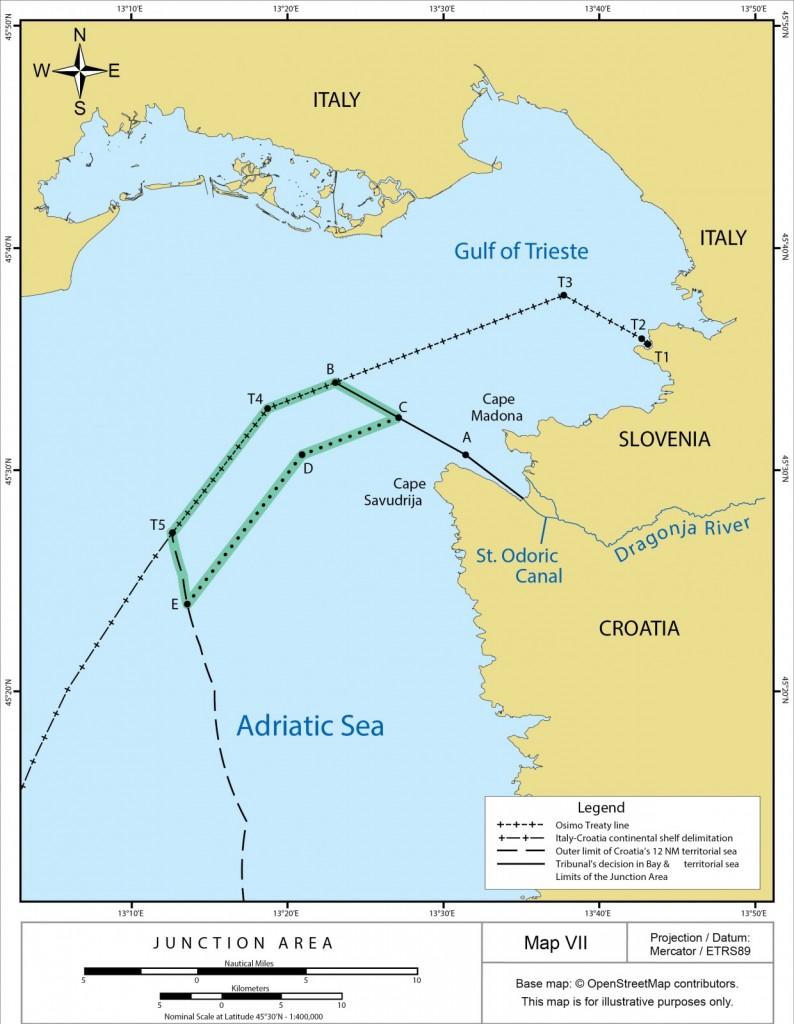 Zemljevid razmejitve Piranskega zaliva, kot jo je določilo Arbitražno sodišče, junija 2017.
