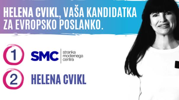 Helena Cvikl na volilnem plakatu SMC. Na koncu je dobila 1217 preferenčnih glasov.
