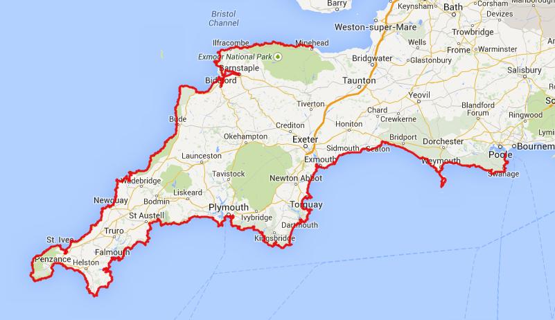 South West Coastal Path, od Mineheda do Poola, ali najdaljša pot po Združenem kraljestvu.