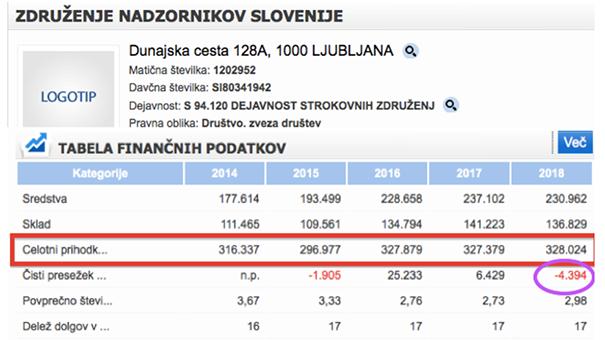 Poslovna bilanca Združenja nadzornikov Slovenije (vir: Gvin)