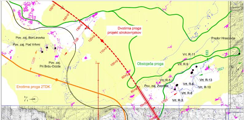 Zelena barva prikazuje umeščenost obstoječega tira glede na lokacije vodnih virov.