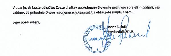 Pismo Janeza Sušnika. Napisal in poslal ga je 26. junija, torej neposredno po vnovični izvolitvi za predsednika ZDUS-a.