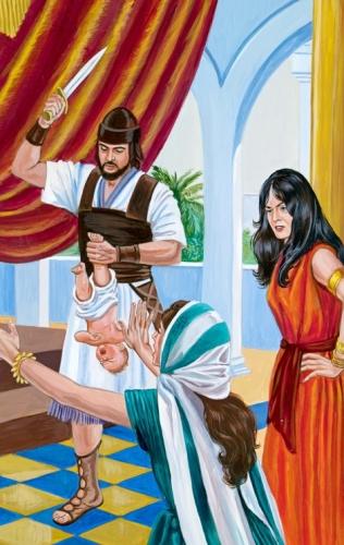 Ženski ob enem od Salomonovih služabnikov, ki v eni roki drži dojenčka, v drugi pa meč.