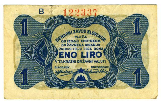 Na zasedanju SNOS-a v Črnomlju 19. in 20. februarja 1944 je bil sprejet odlok o izdaji plačilnih bonov, zakonitih plačilnih sredstev na osvobojenem ozemlju, v vrednosti 1, 5, 10, 50, 100, 500 in 1000lir. Predsedstvo SNOS-a je 12. marca 1944 ustanovilo Denarni zavod Slovenije, ki je bil pooblaščen za izdajo plačilnih bonov. Osnutke za izdelavo lirskih bonov so izdelovali v Črmošnjicah v Beli krajini, tiskali pa v tiskarni Triglav pod Goteniškim Snežnikom.<br>Foto: Branko Babić<br>